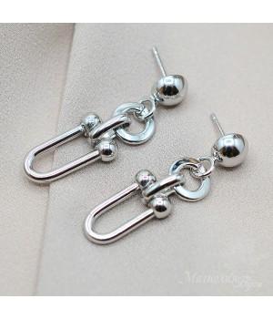 Серьги в стиле Tiffany, родиевое покрытие