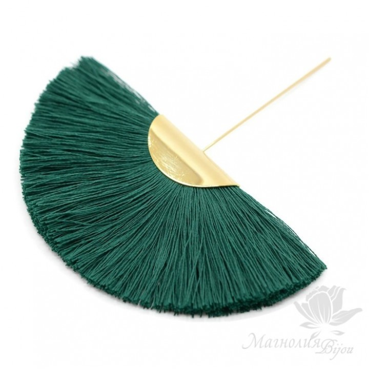 """Шёлковая кисть-веер """"Green"""" с пином(позолота 16 карат)"""