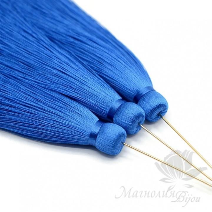 """Шёлковая кисть """"BLUE"""" с пином(позолота 16 карат)"""
