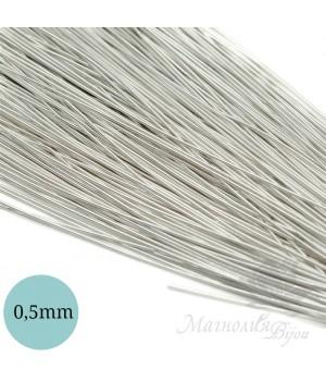 Канитель гладкая мягкая 0,5мм, серебро