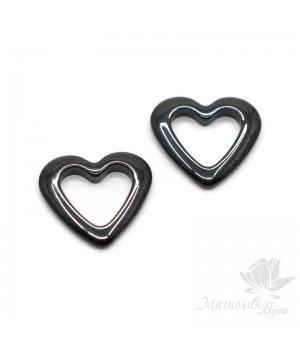 Керамика Сердце 14мм, цвет чёрный