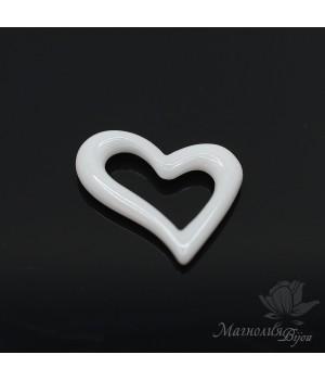 Керамика Сердце Асимметрия 19:15мм, цвет белый