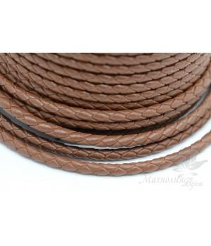 Плетеный кожаный шнур 3мм, коричневый, 1 метр