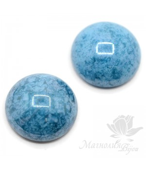 Кабошон 18мм чешское стекло, цвет turquoise blue lumi