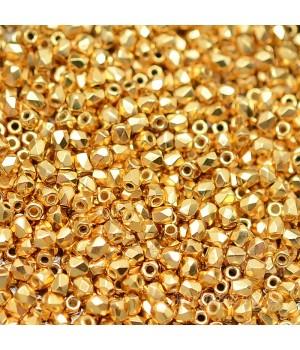 Чешские граненые бусины 24K Gold Plated True 2мм, 50 штук