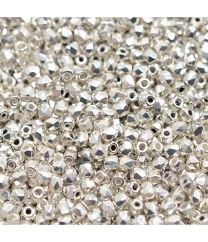 Чешские граненые бусины Fine Silver Plated True 2мм, 50 штук