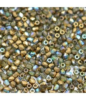 Чешские граненые бусины Rainbow Olive Gold True 2мм, 50 штук