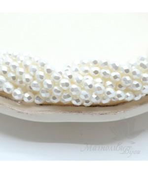 Чешские граненые бусины Pearls White 4мм, 20 штук