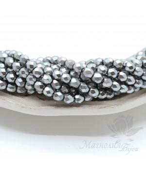 Чешские граненые бусины Pearls Silver 4мм, 20 штук
