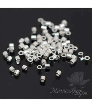 Кримпы трубочки 2мм цвет серебро, 1 грамм