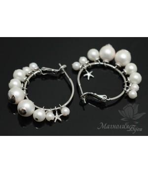 Серьги-кольца с белым жемчугом Shell Pearl, родиевое покрытие