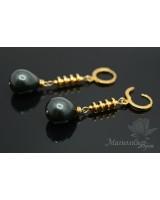 Pendientes con perlas de concha negras, dorado 14K