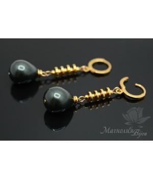 Серьги-капли с черным жемчугом Майорка, позолота 14 карат