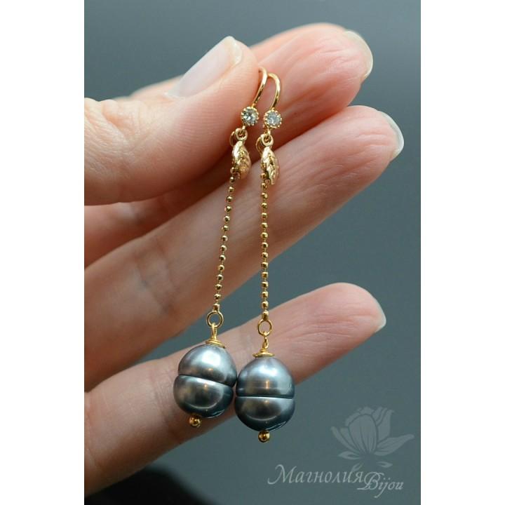 Серьги с натуральным барочным жемчугом, серебро + позолота 14 карат