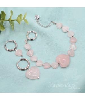 Комплект с розовым кварцем, родиевое покрытие