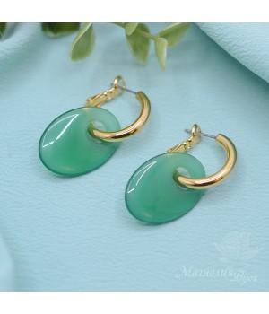 Серьги-кольца с зелёным агатом, позолота 16К