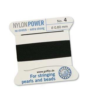 Нить с иглой NylonPower(GRIFFIN) 0.60мм(№4), чёрная