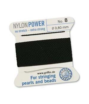 Нить с иглой NylonPower(GRIFFIN) 0.80мм(№8), чёрная