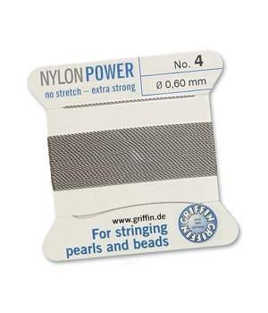 Нить с иглой NylonPower(GRIFFIN) 0.60мм(№4), серая