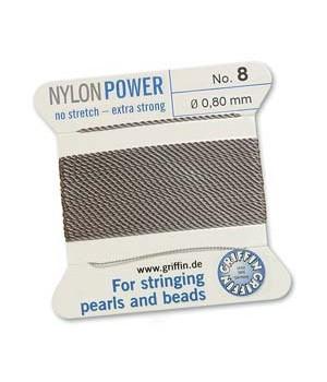 Нить с иглой NylonPower(GRIFFIN) 0.80мм(№8), серая