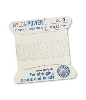 Нить с иглой NylonPower(GRIFFIN) 0.60мм(№4), белая
