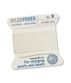 Нить с иглой NylonPower(GRIFFIN) 0.80мм(№8), белая
