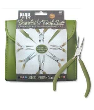 Набор из 8-ми инструментов для бижутерии в пенале BeadSmith, цвет Olive