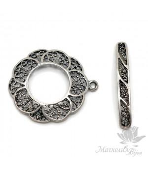 "Тогл ""Цветок, филигрань"", античное серебро"