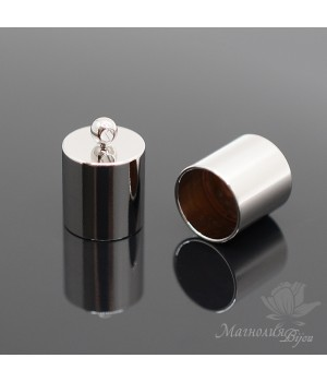 Концевик Цилиндр для кисти/жгута/шнура 10мм, родиевое покрытие