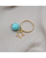 Кольцо с амазонитом и звёздочкой,позолота 16 карат