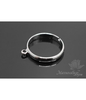 Основа для кольца с петелькой, родиевое покрытие