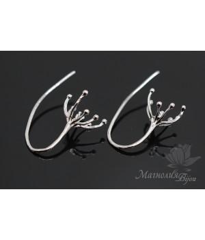 Швензы-крючки Щупальца, серебро 925 пробы + родиевое покрытие