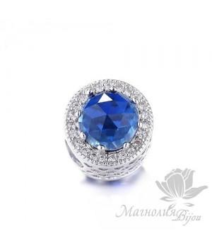 """Бусина в стиле Пандора """"Blue"""", цвет платина"""