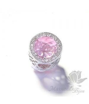 "Бусина в стиле Пандора ""Pink"", цвет платина"