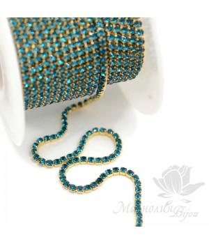 """Стразовая цепь """"Blue Zircon"""" 2мм(50см), позолота"""