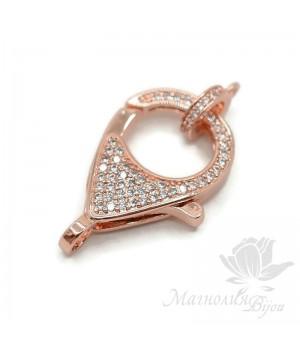 Замочек лобстер 26:17мм для цепочки или колье, розовое золото