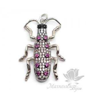 """Подвеска """"Cucaracha"""" жук с цветными фианитами, цвет платина"""