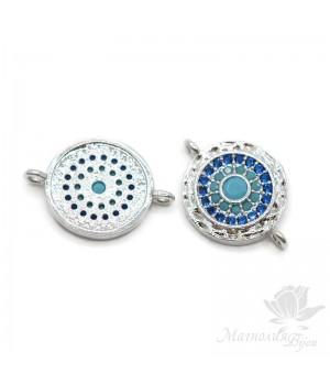 Коннектор круглый с голубыми фианитами, цвет платина