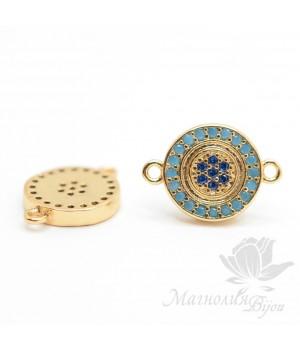 """КОННЕКТОР """"Мини"""" с голубыми фианитами, цвет золото(conector con circonia cúbica azul)"""
