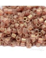 Delica 8/0 Hex Cut Miyuki DBCL-0115 Transparent Luster Metallic Gold Rose, 5g