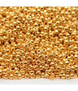 Бисер круглый 0191 11/0 24K Gold Plated, 5 грамм