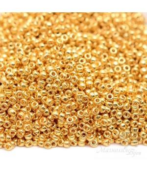 Бисер круглый 0191 15/0 24K Gold Plated, 5 грамм