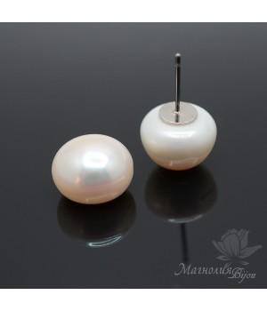 Жемчуг натуральный полупросверленный кнопка ~12мм белый, пара