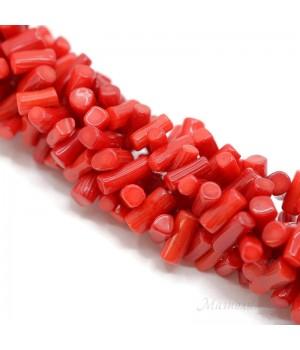 Коралл Цилиндр ~6:8мм красный, нить 40см