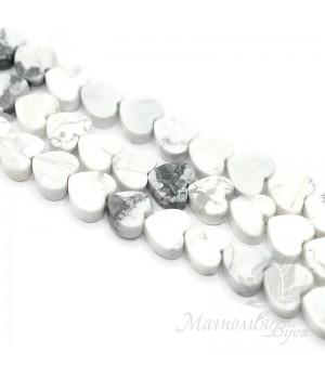 Говлит(кахолонг) натуральный белый сердце 10мм