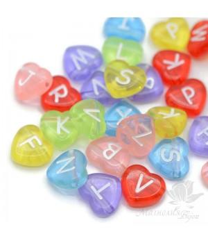 Бусины буквы в форме сердечка пластик мультиколор, 50 штук