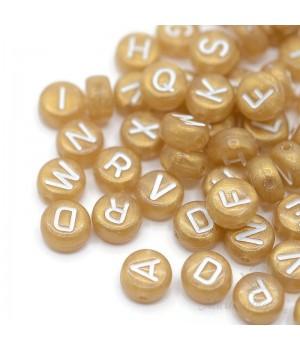 Бусины буквы пластик золотистый, 50 штук