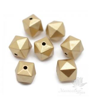 Бусина Многогранник пластик золотистый, 5 штук