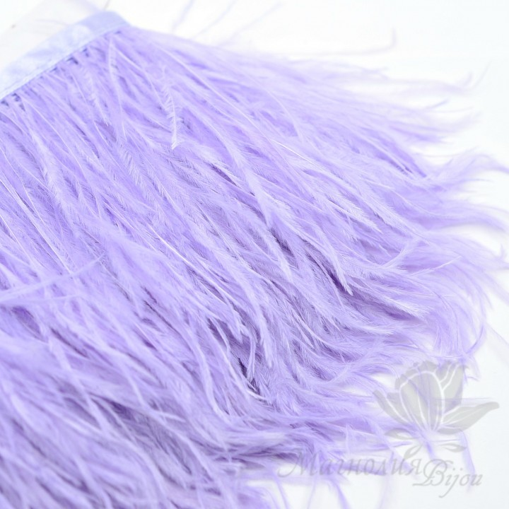 Перья страуса на ленте Light Purple, 10см