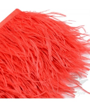 Перья страуса на ленте  Red, 10см